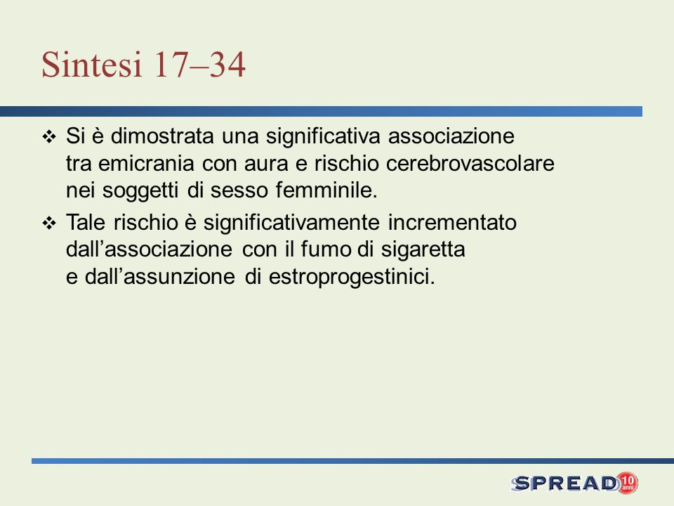 Sintesi 17–34 Si è dimostrata una significativa associazione tra emicrania con aura e rischio cerebrovascolare nei soggetti di sesso femminile.
