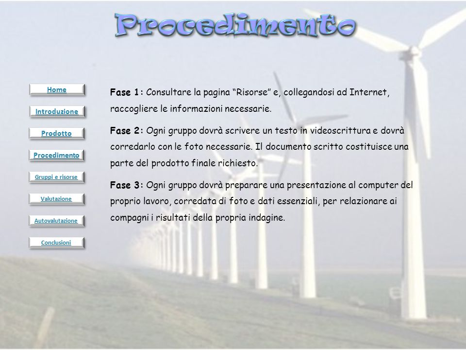 Procedimento Home. Fase 1: Consultare la pagina Risorse e, collegandosi ad Internet, raccogliere le informazioni necessarie.