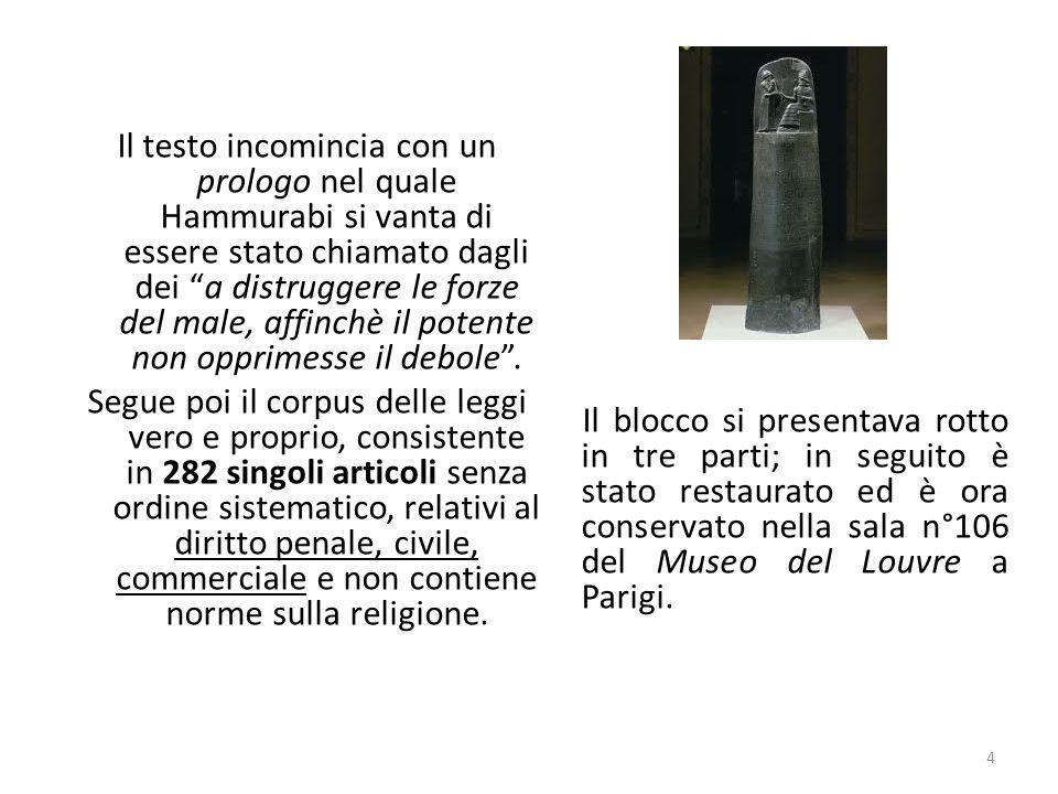 Il testo incomincia con un prologo nel quale Hammurabi si vanta di essere stato chiamato dagli dei a distruggere le forze del male, affinchè il potente non opprimesse il debole .