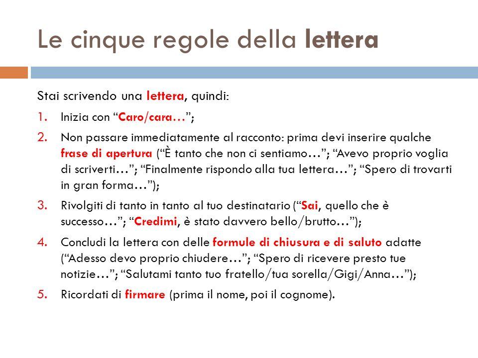 Le cinque regole della lettera