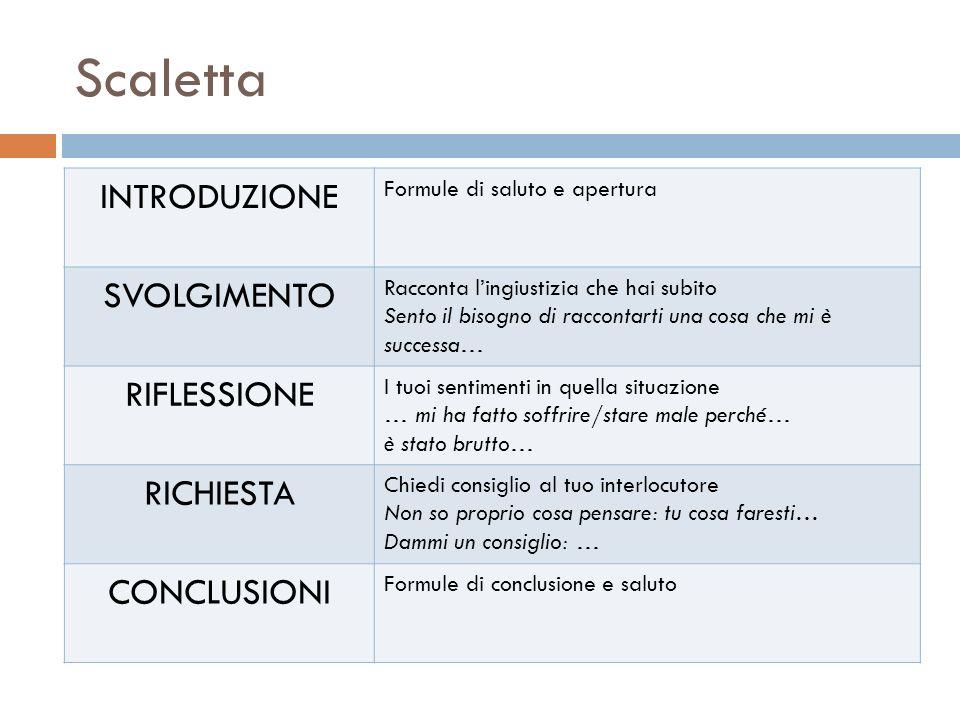 Scaletta INTRODUZIONE SVOLGIMENTO RIFLESSIONE RICHIESTA CONCLUSIONI