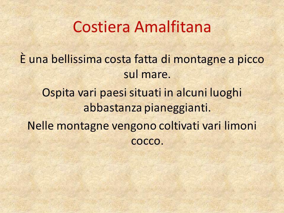 Costiera Amalfitana È una bellissima costa fatta di montagne a picco sul mare. Ospita vari paesi situati in alcuni luoghi abbastanza pianeggianti.