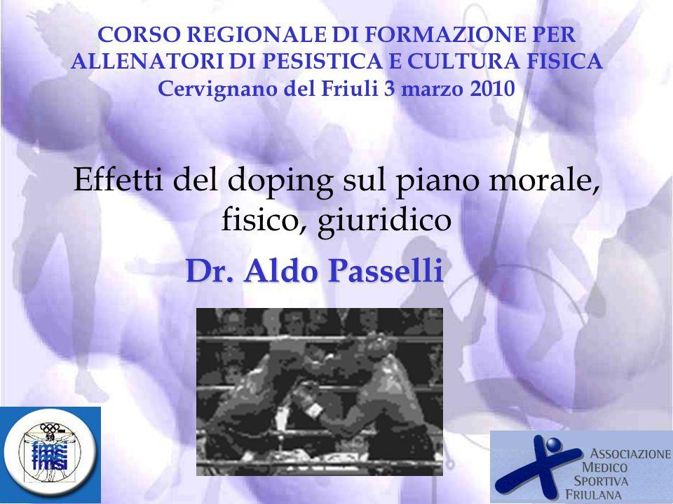 Effetti del doping sul piano morale, fisico, giuridico