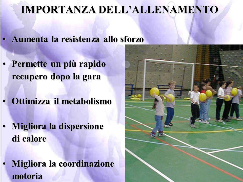 IMPORTANZA DELL'ALLENAMENTO