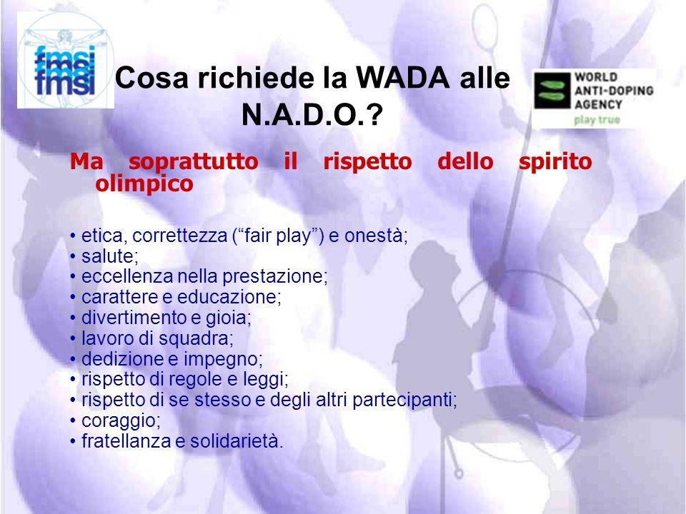 Cosa richiede la WADA alle N.A.D.O.