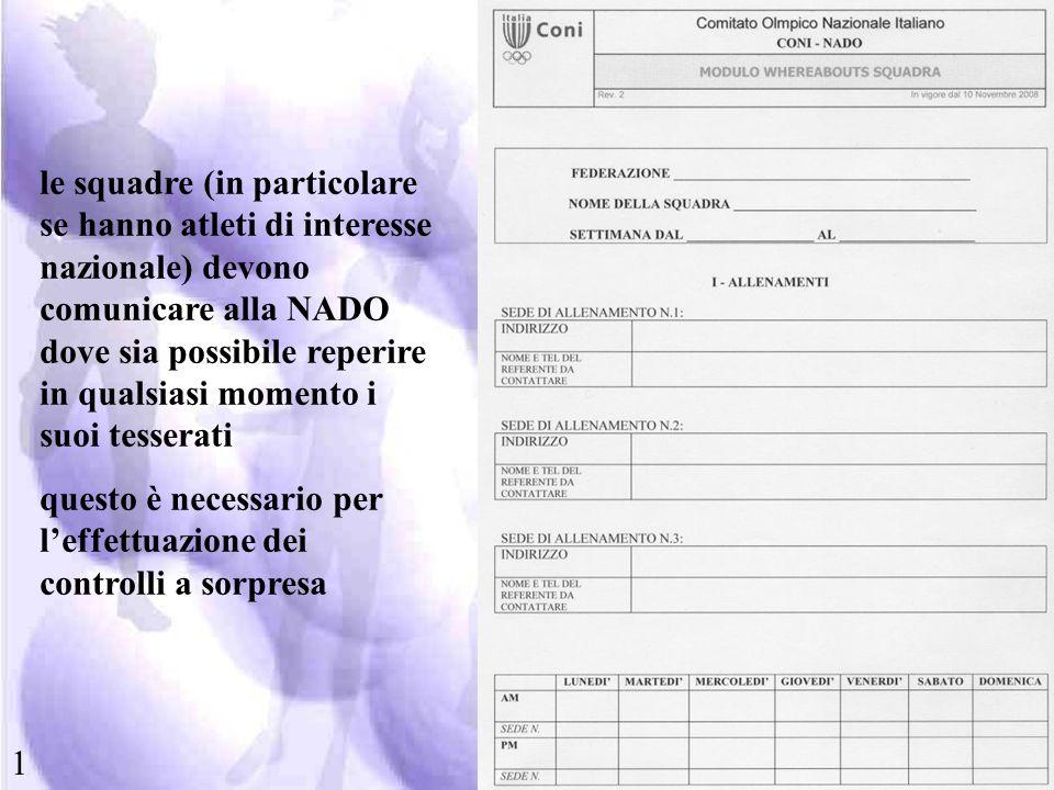 le squadre (in particolare se hanno atleti di interesse nazionale) devono comunicare alla NADO dove sia possibile reperire in qualsiasi momento i suoi tesserati