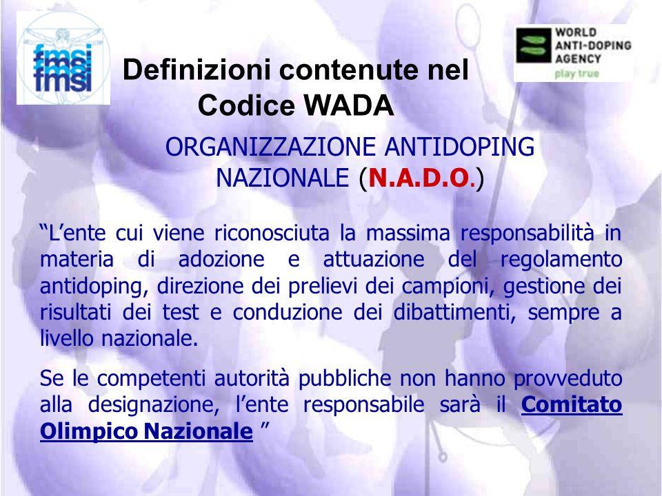 Definizioni contenute nel Codice WADA