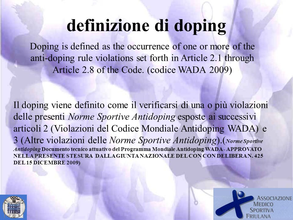 definizione di doping Doping is defined as the occurrence of one or more of the. anti-doping rule violations set forth in Article 2.1 through.