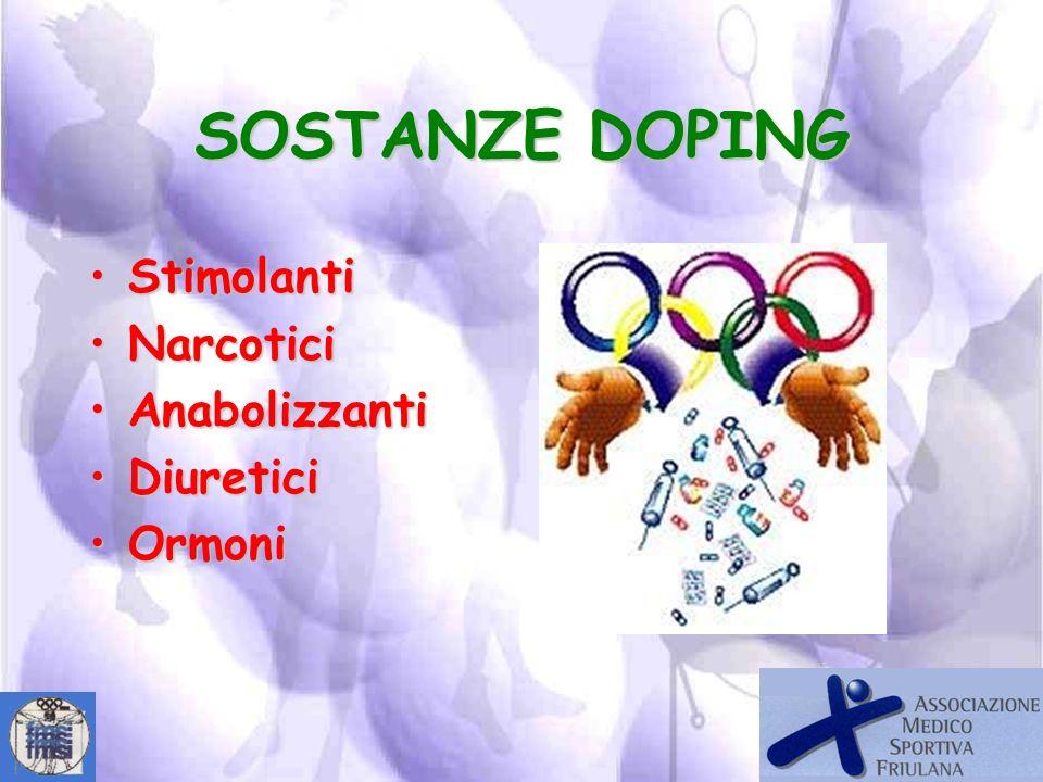 SOSTANZE DOPING Stimolanti Narcotici Anabolizzanti Diuretici Ormoni