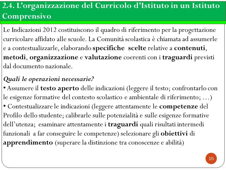 2.4. L'organizzazione del Curricolo d'Istituto in un Istituto Comprensivo