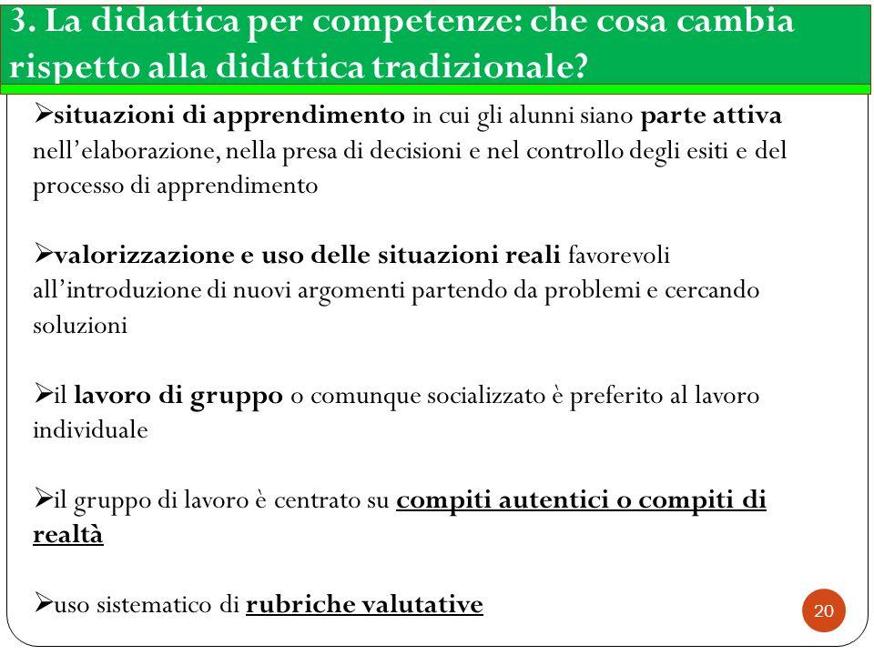3. La didattica per competenze: che cosa cambia rispetto alla didattica tradizionale