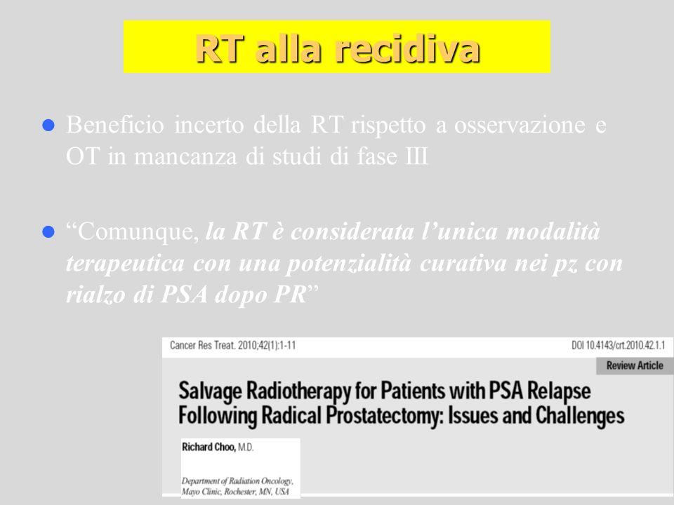 RT alla recidiva Beneficio incerto della RT rispetto a osservazione e OT in mancanza di studi di fase III.
