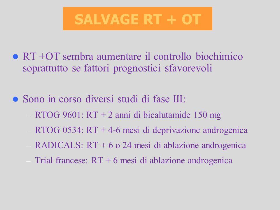 SALVAGE RT + OT RT +OT sembra aumentare il controllo biochimico soprattutto se fattori prognostici sfavorevoli.