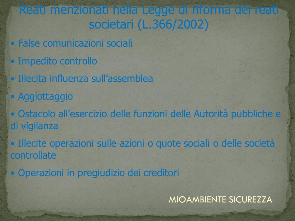 Reati menzionati nella Legge di riforma dei reati societari (L