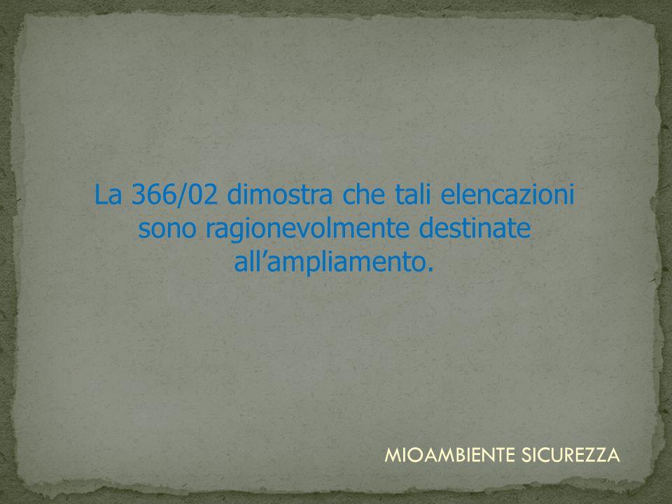 La 366/02 dimostra che tali elencazioni sono ragionevolmente destinate all'ampliamento.