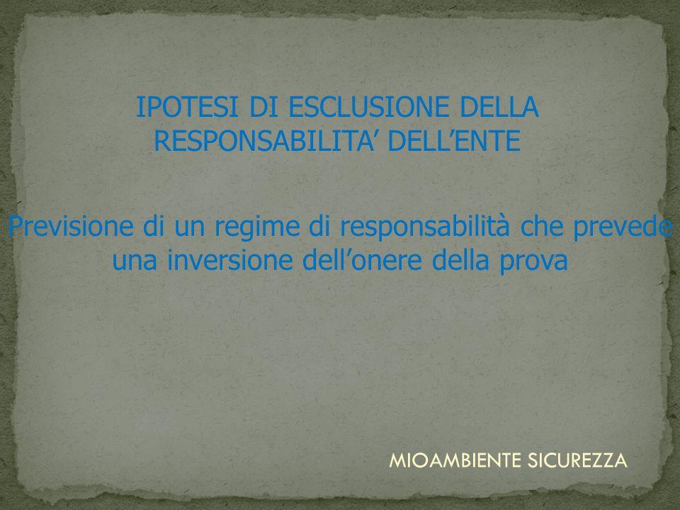 IPOTESI DI ESCLUSIONE DELLA RESPONSABILITA' DELL'ENTE