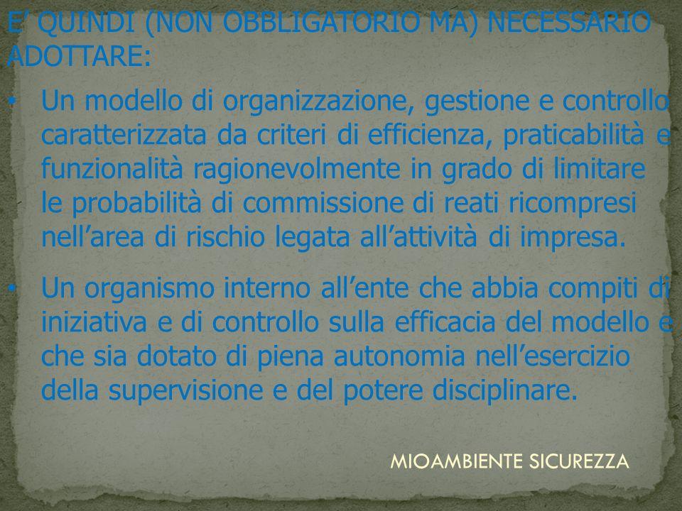 E' QUINDI (NON OBBLIGATORIO MA) NECESSARIO ADOTTARE: