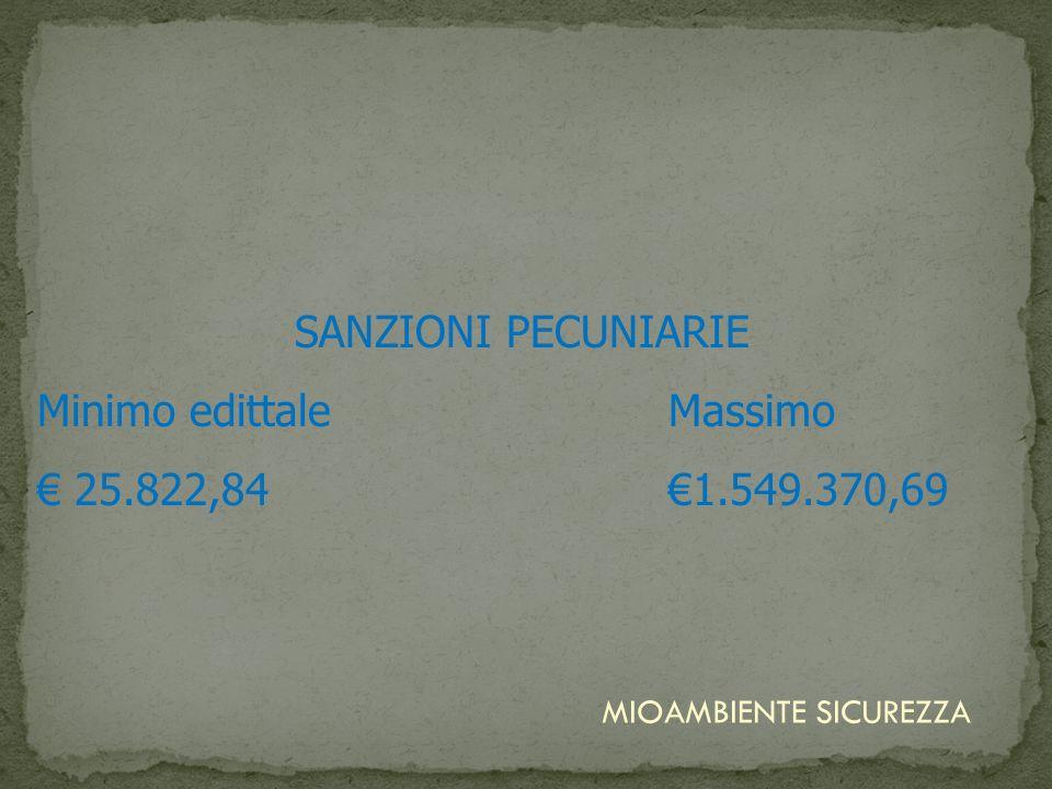 Minimo edittale Massimo € 25.822,84 €1.549.370,69