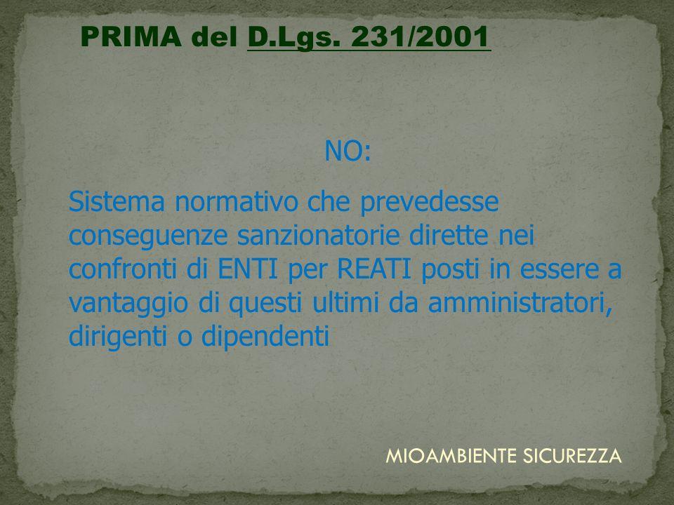 PRIMA del D.Lgs. 231/2001NO: