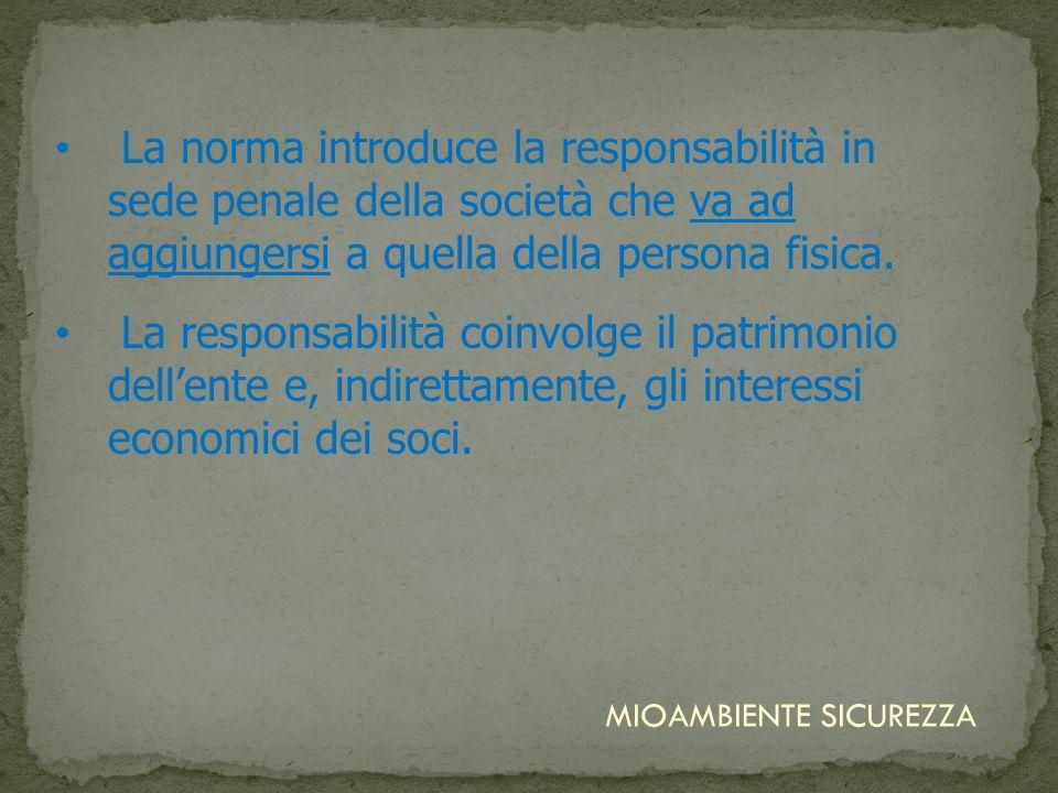 La norma introduce la responsabilità in sede penale della società che va ad aggiungersi a quella della persona fisica.