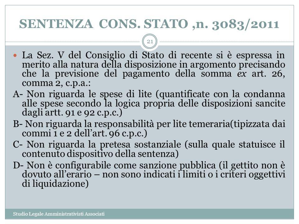 SENTENZA CONS. STATO ,n. 3083/2011
