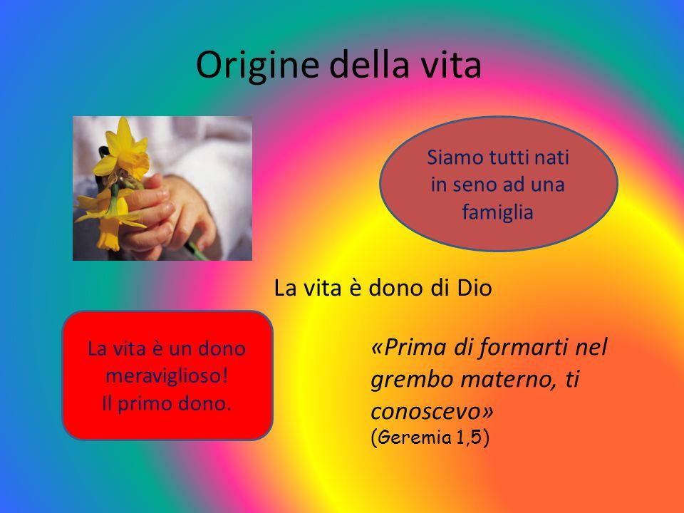 Origine della vita La vita è dono di Dio