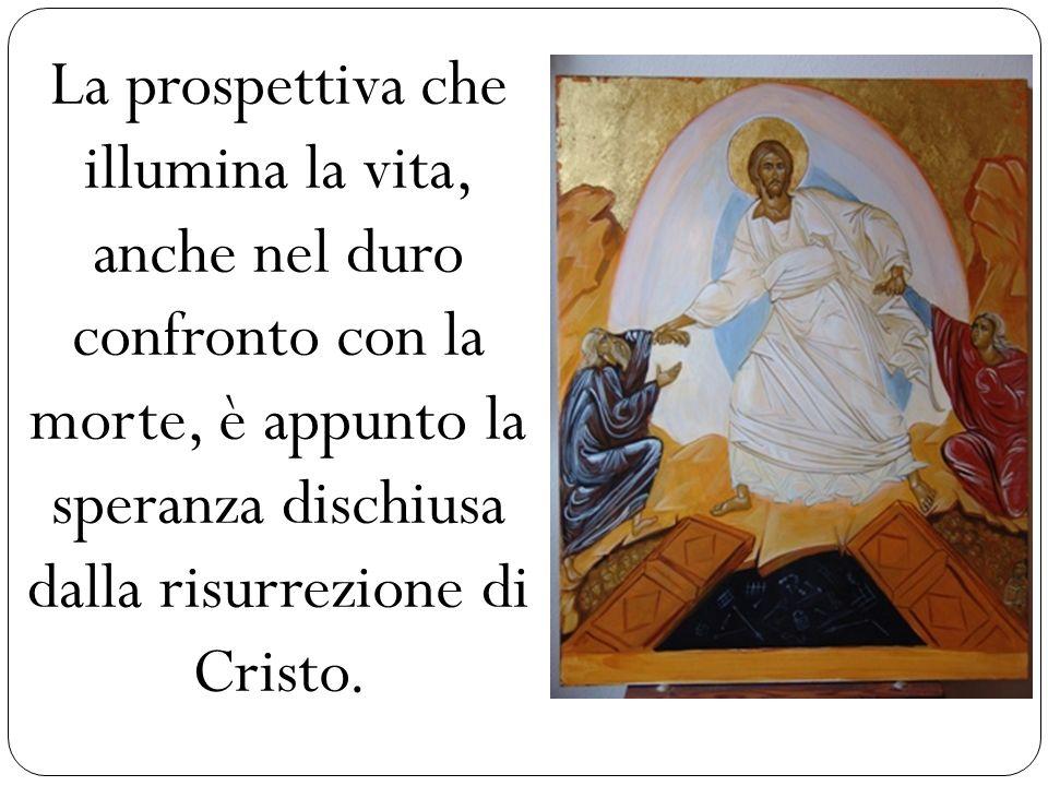 La prospettiva che illumina la vita, anche nel duro confronto con la morte, è appunto la speranza dischiusa dalla risurrezione di Cristo.