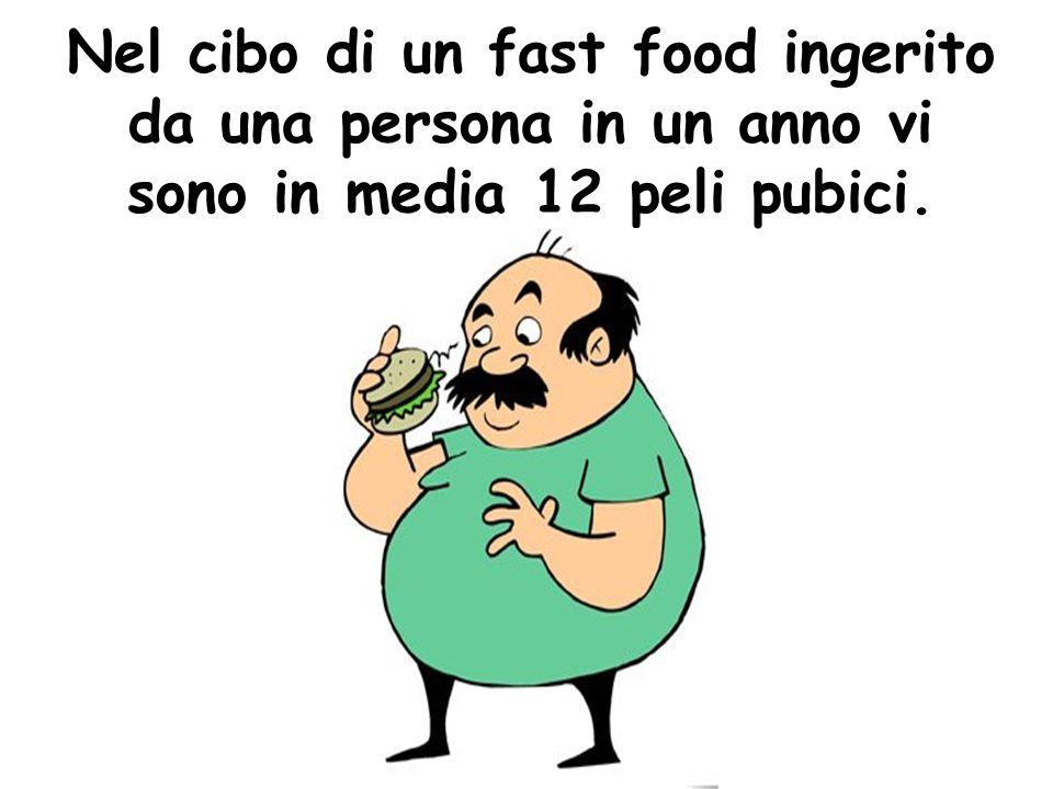Nel cibo di un fast food ingerito da una persona in un anno vi sono in media 12 peli pubici.