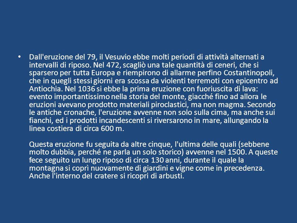 Dall eruzione del 79, il Vesuvio ebbe molti periodi di attività alternati a intervalli di riposo.