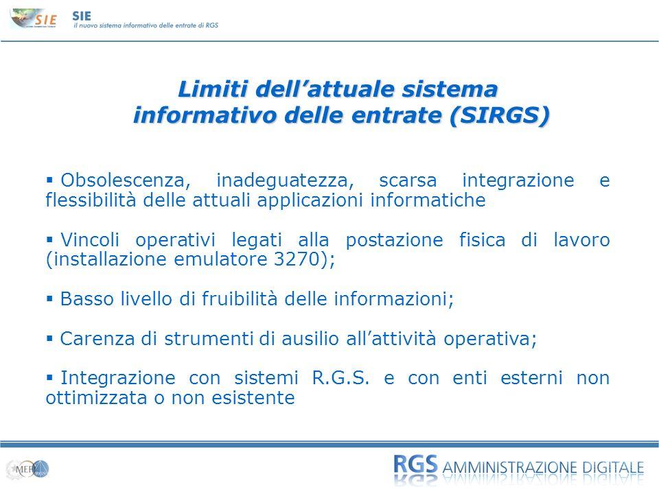 Limiti dell'attuale sistema informativo delle entrate (SIRGS)