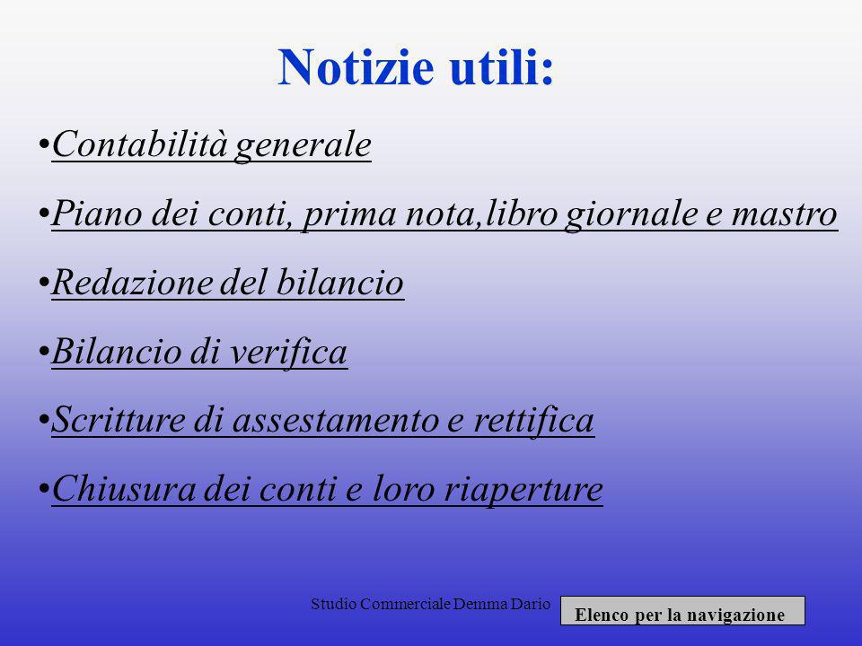 Notizie utili: Contabilità generale