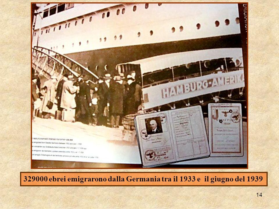 329000 ebrei emigrarono dalla Germania tra il 1933 e il giugno del 1939