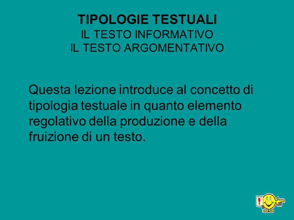 TIPOLOGIE TESTUALI IL TESTO INFORMATIVO IL TESTO ARGOMENTATIVO
