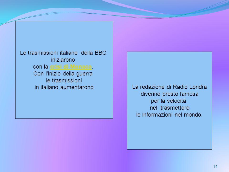 Le trasmissioni italiane della BBC iniziarono con la crisi di Monaco.
