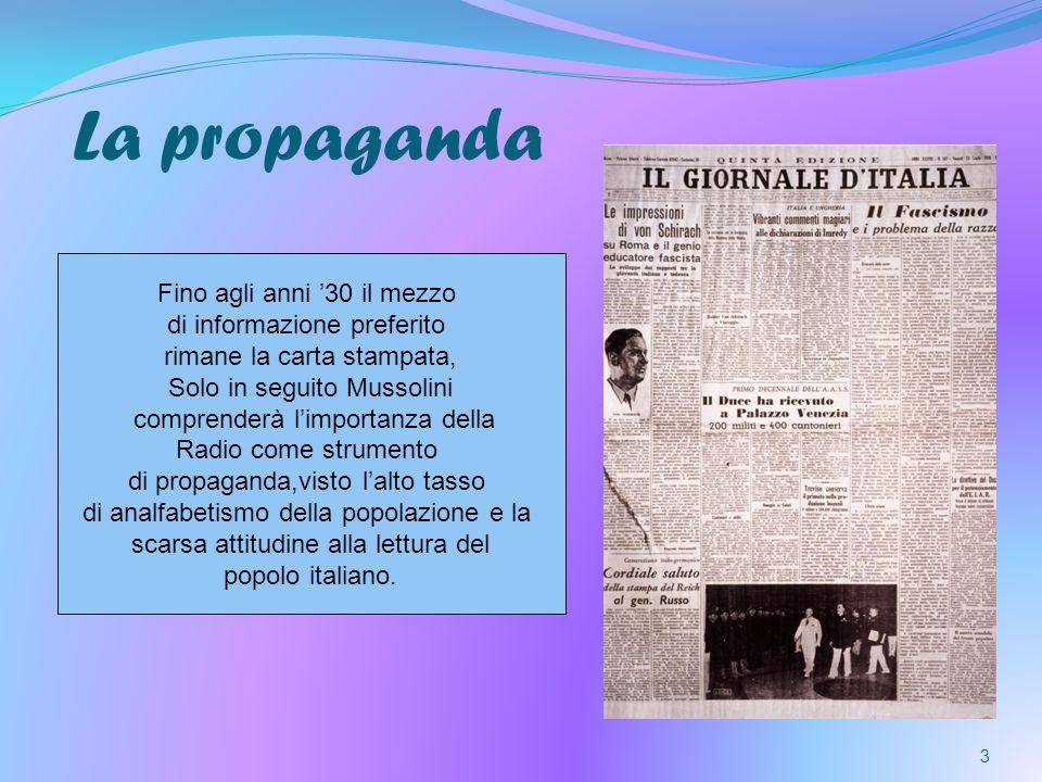 La propaganda Fino agli anni '30 il mezzo di informazione preferito