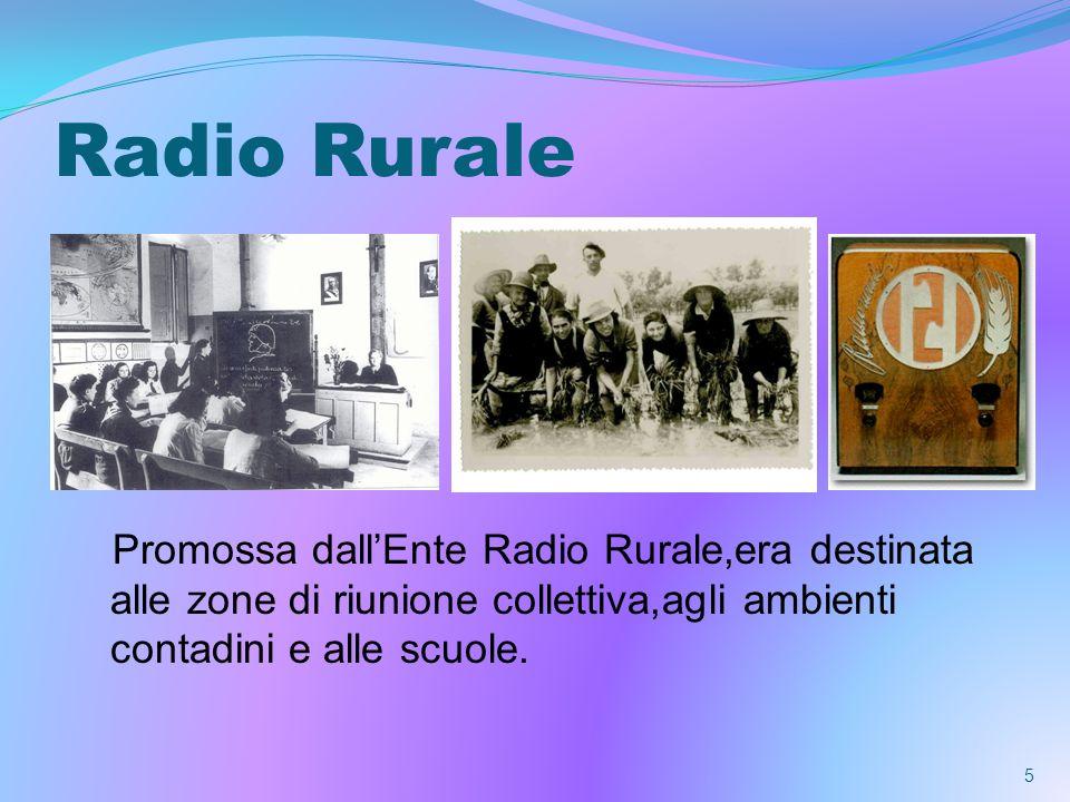Radio Rurale Promossa dall'Ente Radio Rurale,era destinata alle zone di riunione collettiva,agli ambienti contadini e alle scuole.