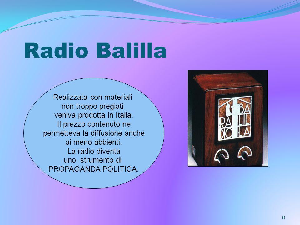 Radio Balilla Realizzata con materiali non troppo pregiati