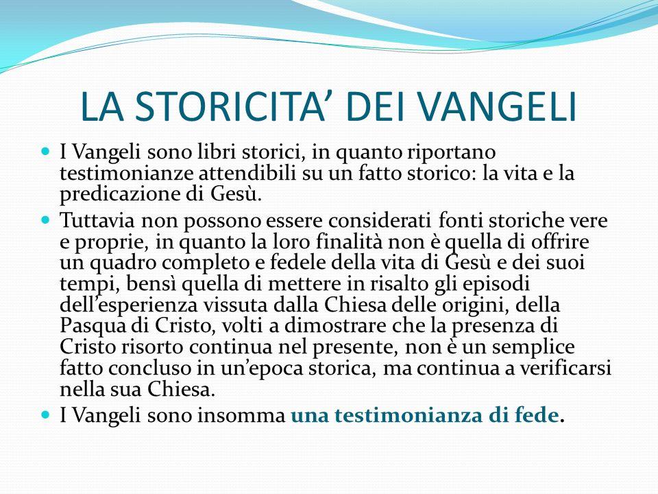 LA STORICITA' DEI VANGELI