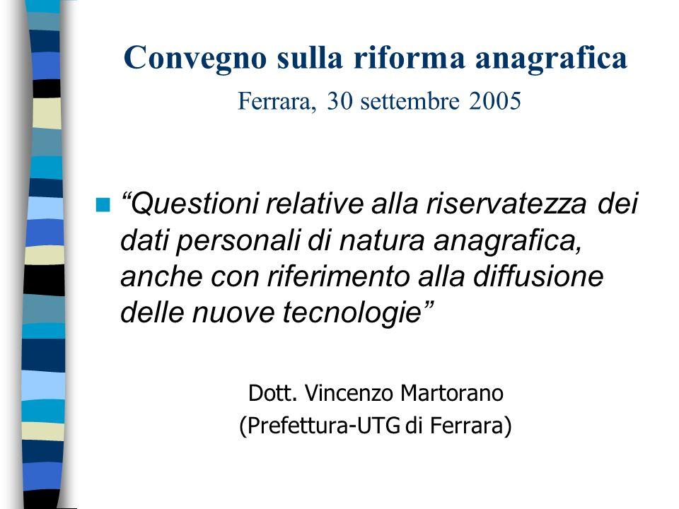 Convegno sulla riforma anagrafica Ferrara, 30 settembre 2005