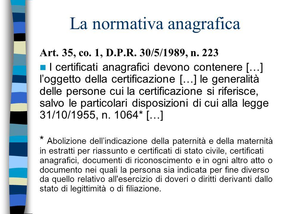La normativa anagrafica