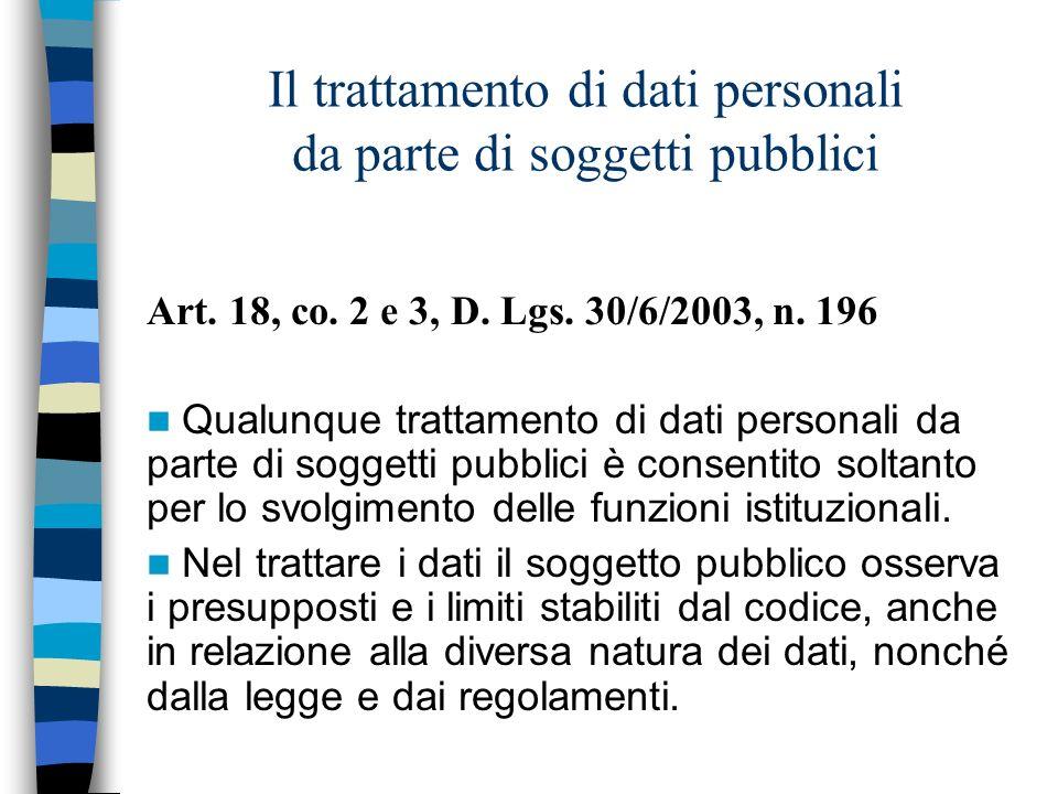 Il trattamento di dati personali da parte di soggetti pubblici