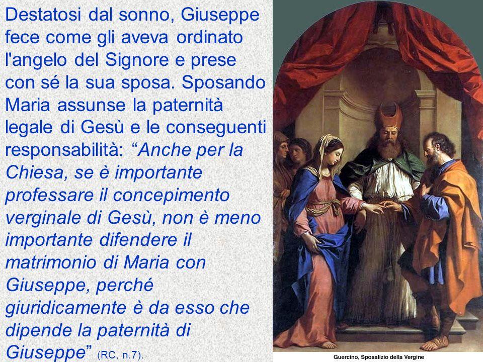 Destatosi dal sonno, Giuseppe fece come gli aveva ordinato l angelo del Signore e prese con sé la sua sposa.