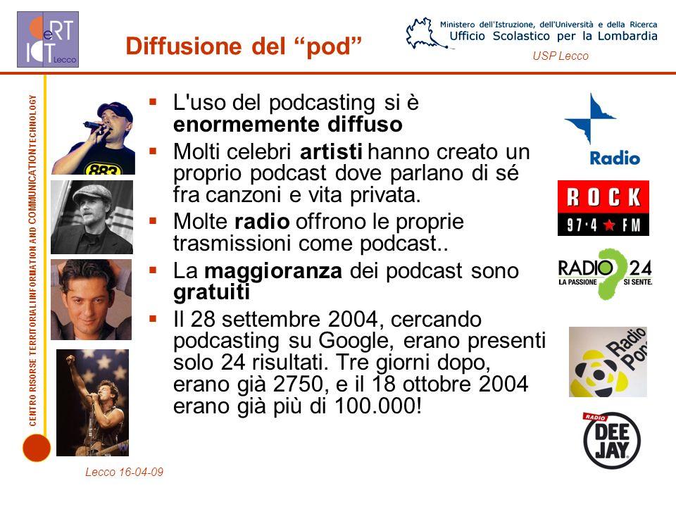 Diffusione del pod L uso del podcasting si è enormemente diffuso