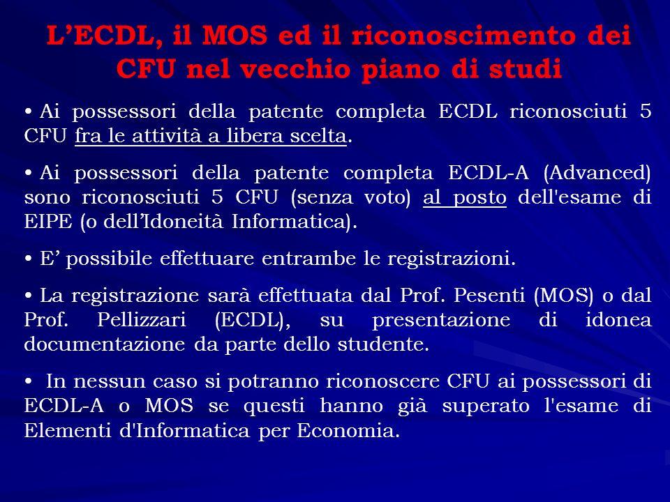 L'ECDL, il MOS ed il riconoscimento dei CFU nel vecchio piano di studi