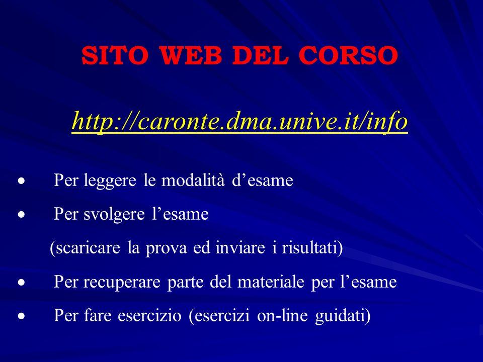 SITO WEB DEL CORSO http://caronte.dma.unive.it/info