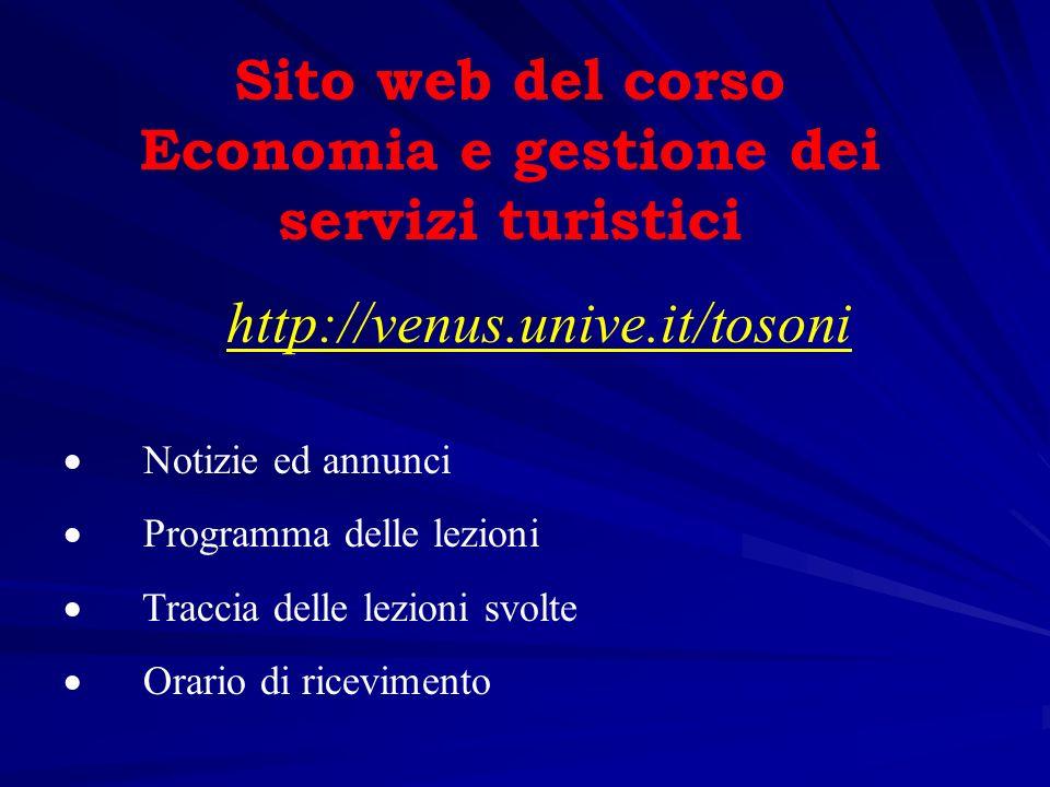 Sito web del corso Economia e gestione dei servizi turistici