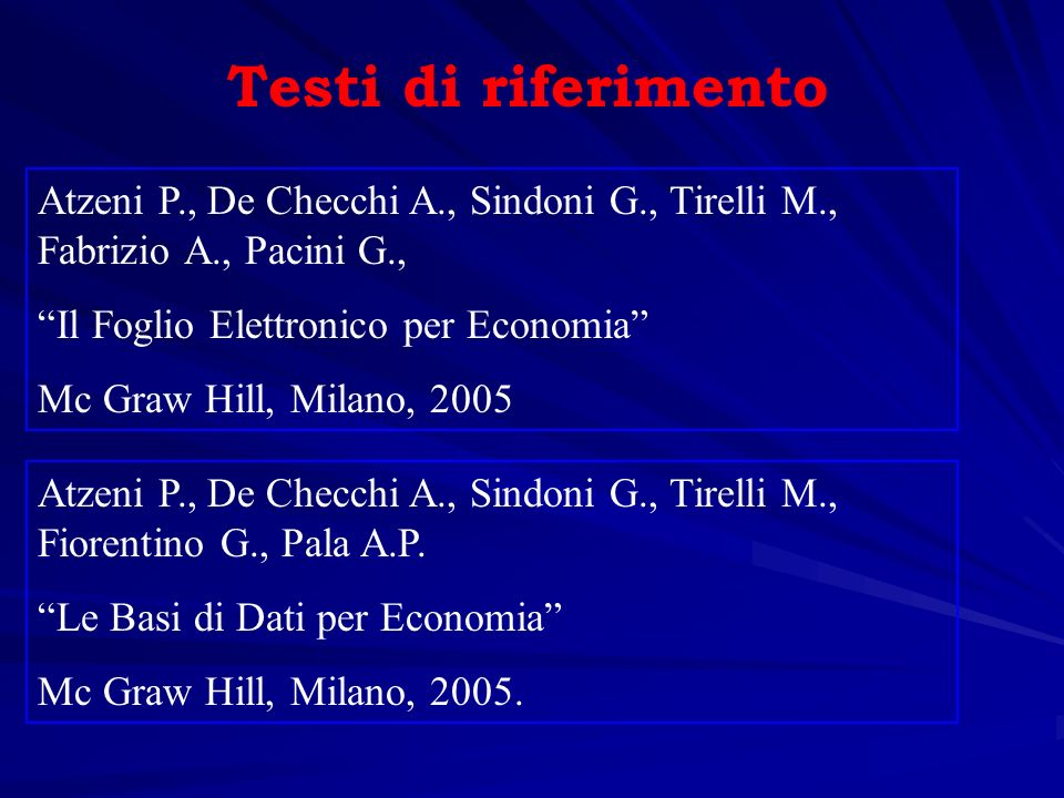 Testi di riferimento Atzeni P., De Checchi A., Sindoni G., Tirelli M., Fabrizio A., Pacini G., Il Foglio Elettronico per Economia