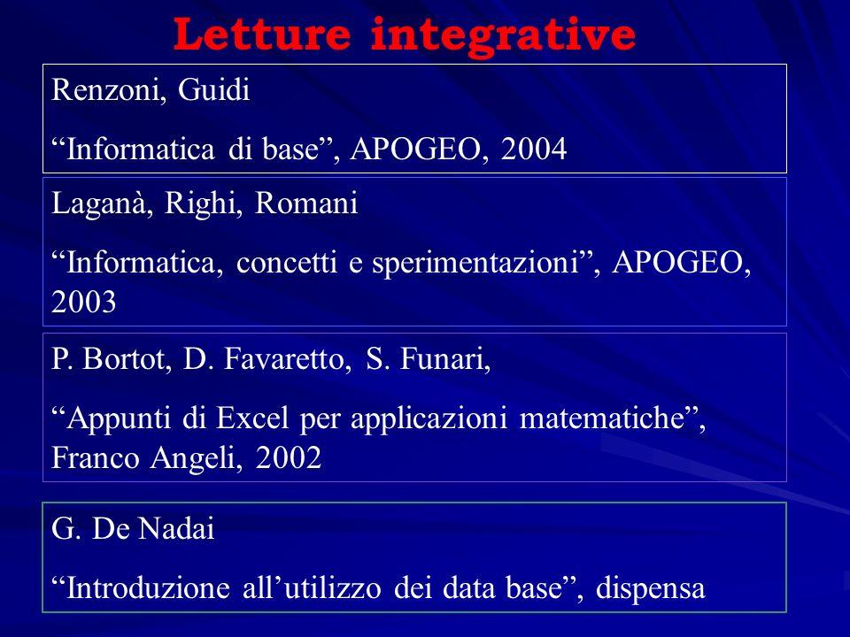 Letture integrative Renzoni, Guidi Informatica di base , APOGEO, 2004