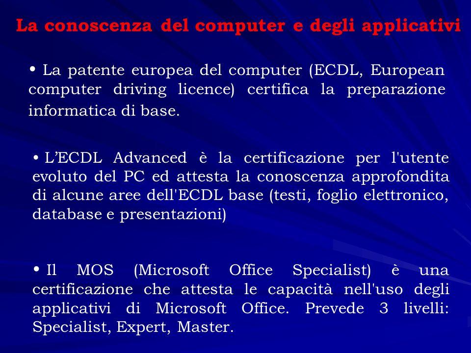La conoscenza del computer e degli applicativi