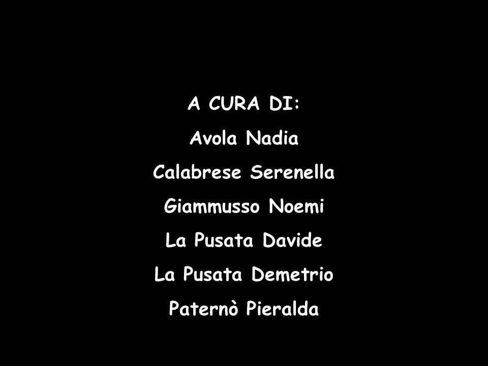 A CURA DI: Avola Nadia. Calabrese Serenella. Giammusso Noemi. La Pusata Davide. La Pusata Demetrio.